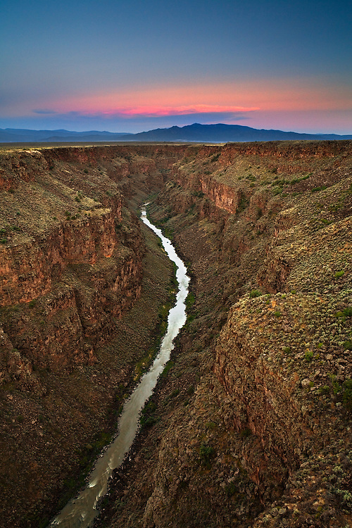 Sunset over the Taos Box and Picuris Peak. Rio Grande River Gorge near Taos, New Mexico.
