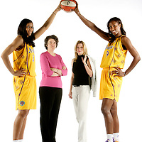 Los Angeles Sparks stars Lisa Leslie, right, and Candace Parker flank team owners Carla Christofferson, second from right,  and Kathy Goodman. Photographed for Sports Illustrated.