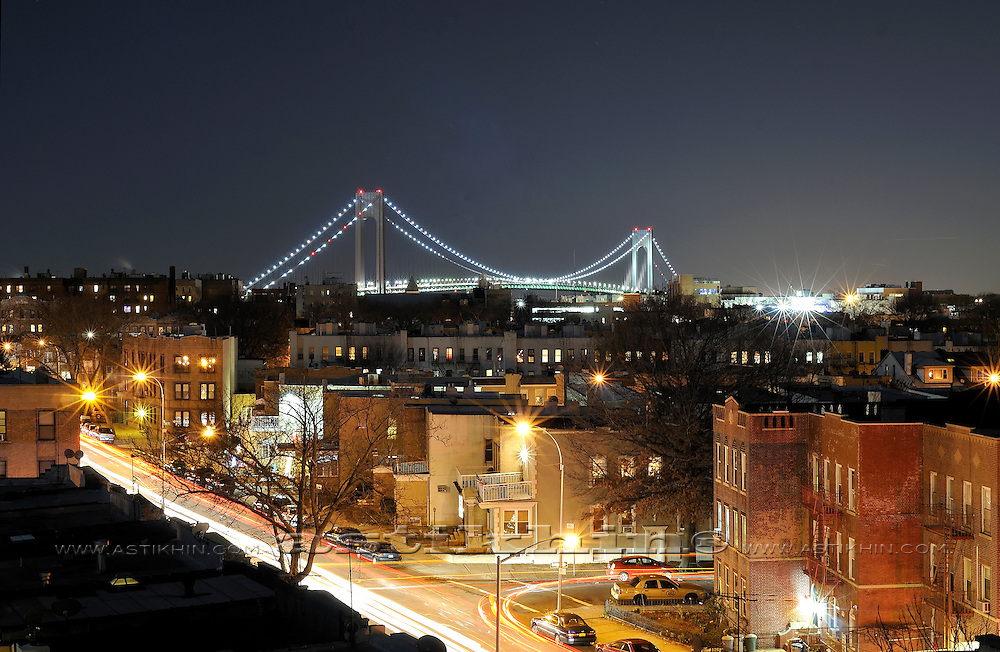 Brooklyn and Verrazano Narrows Bridge at night.