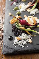 Leeks+Baby Root Vegetables+Pignoli.(Jodi Miller/Monthly)