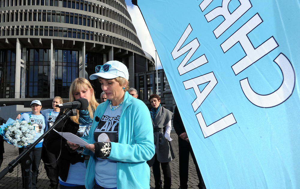 Tracey Marceau, right, with daughter Heather as a 58,000 signature petition was presented at Parliament supporting tougher bail laws after teenage Christie Marceau was allegedly killed by Akshay Chand who was on bail, Wellington, New Zealand, Tuesday May 29, 2012. Credit:SNPA / Ross Setford