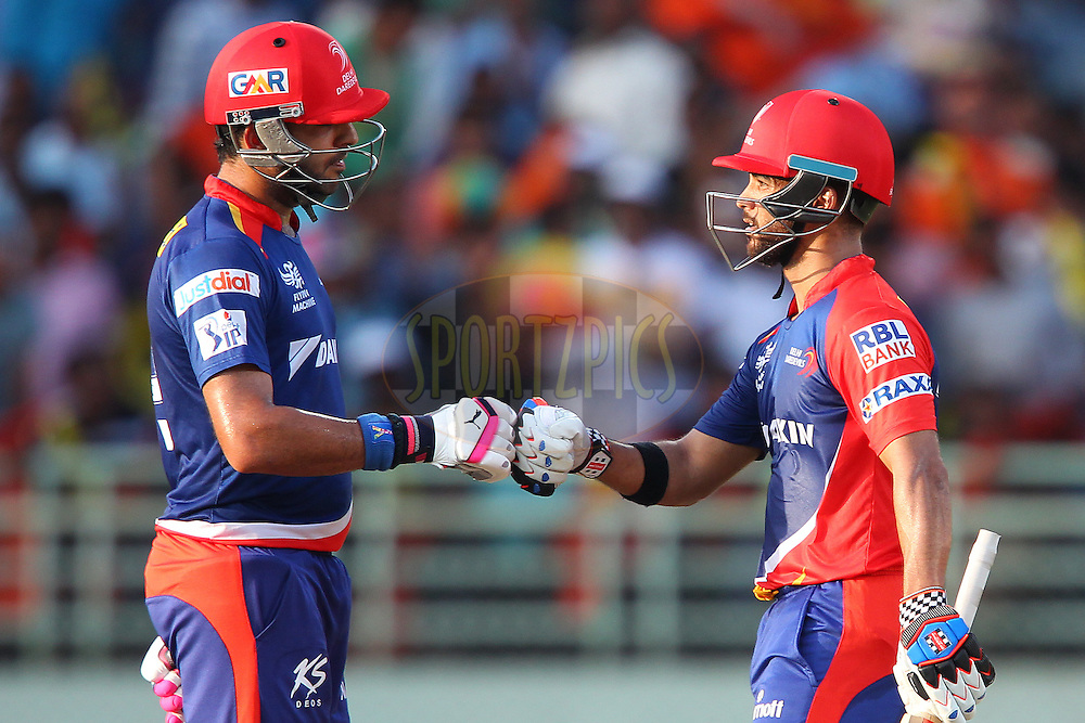 Yuvraj Sing of the Delhi Daredevils and Jean-Paul Duminy captain of the Delhi Daredevils  during match 13 of the Pepsi IPL 2015 (Indian Premier League) between The Sunrisers Hyderabad and The Delhi Daredevils held at the ACA-VDCA Stadium in Visakhapatnam India on the 18th April 2015.<br /> <br /> Photo by:  Ron Gaunt / SPORTZPICS / IPL
