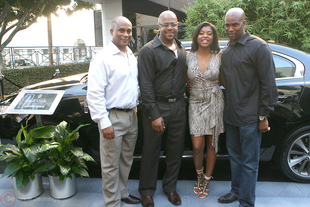 l to r: Marc Perry, Rockmon Dunbar, Taraji P. Henson, and Chris Spencer at Lincoln Presents ' Off the Red Carpet ' during the 2008 American Black Film Festival held at the Sofitel Hotel on August 7, 2008