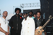 "June 2, 2012- Philadelphia, PA, United States: The ROOTS attend the 5th Annual ROOTS Picnic held at Festival Pier at Penn's Landing in Philadelphia, PA . The Roots is an American hip hop/neo soul band formed in 1987 by Tariq ""Black Thought"" Trotter and Ahmir ""Questlove"" Thompson in Philadelphia, Pennsylvania. They are known for a jazzy, eclectic approach to hip hop which includes live instrumentals. (Photo by Terrence Jennings)"