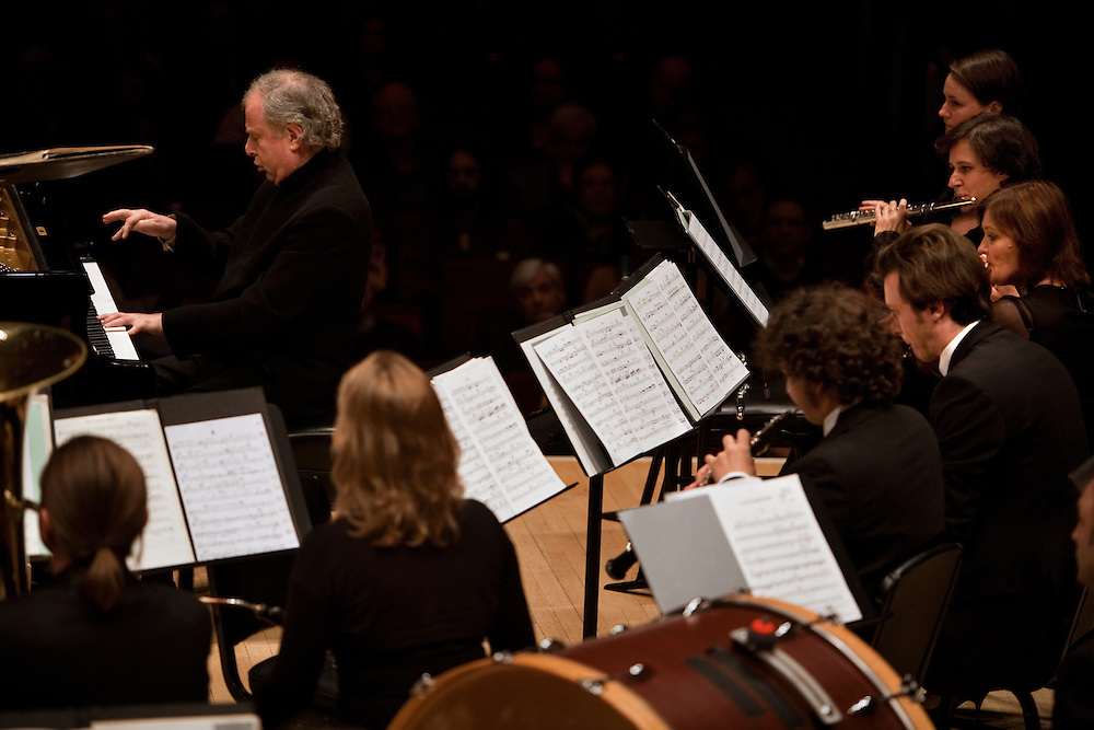Pianist Andras Schiff performs with the Budapest Festival Orchestra at Carnegie Hall in Manhattan, NY on October 29, 2011.