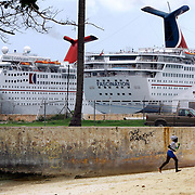 Cruise Ships docked at Prince George Wharf near downtown Nassau in The Bahamas.