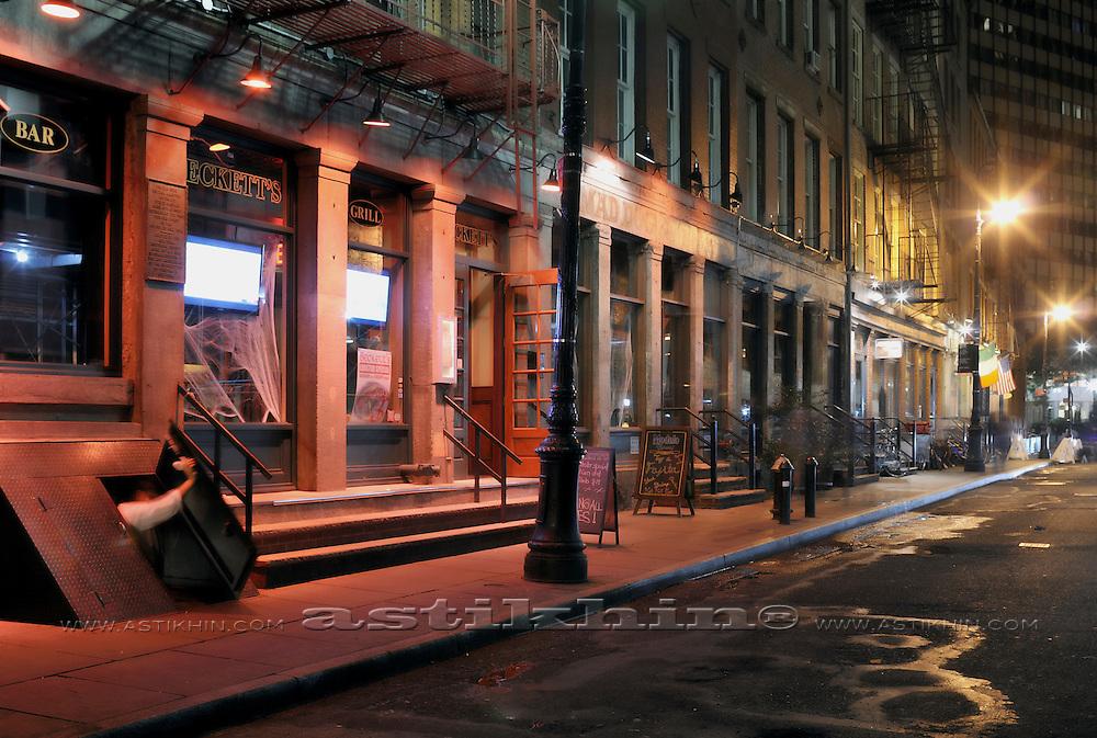 Street at night in Manhattan, New York City, USA.