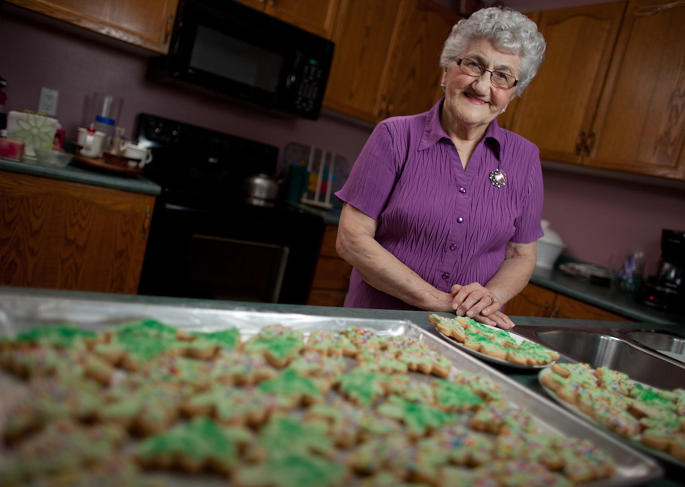 Norfolk, Ontario ---11-12-17--- Margaret Driedger, 83, poses with  some of the nearly 500 Christmas cookies she bakes each year in her Norfolk, Ontario home December 17, 2011.<br /> GEOFF ROBINS Toronto Star
