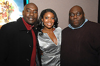 """Morris Chestnut, Gabrielle Union and Faizon Love arriving for a screening of the movie, """"A Perfect Holiday"""" in Washington, DC on December 4, 2007"""
