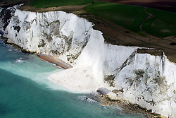 Image &copy;Licensed to i-Images Picture Agency. Aerials kent views.<br /> Landslip in the White Cliffs of Dover. Picture by i-Images