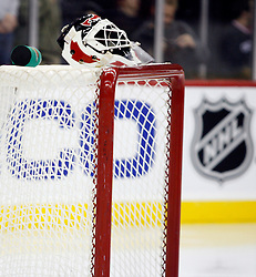 November 28, 2007; Newark, NJ, USA;  The mask of New Jersey Devils goalie Martin Brodeur (30) sits on his goal during the first period at the Prudential Center in Newark, NJ.