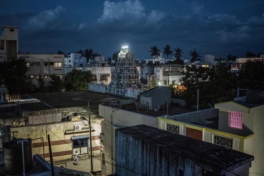 Idyllic twilight settles in on a Pondicherry neighborhood just a few blocks from the sea.  India.