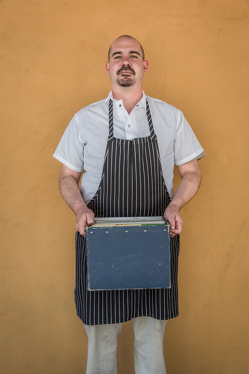 """Chef Hans Christian Anderson III on his first day at Brannon's in downtown Calistoga.  """"These are my recipes...to me they're worth a fortune."""""""