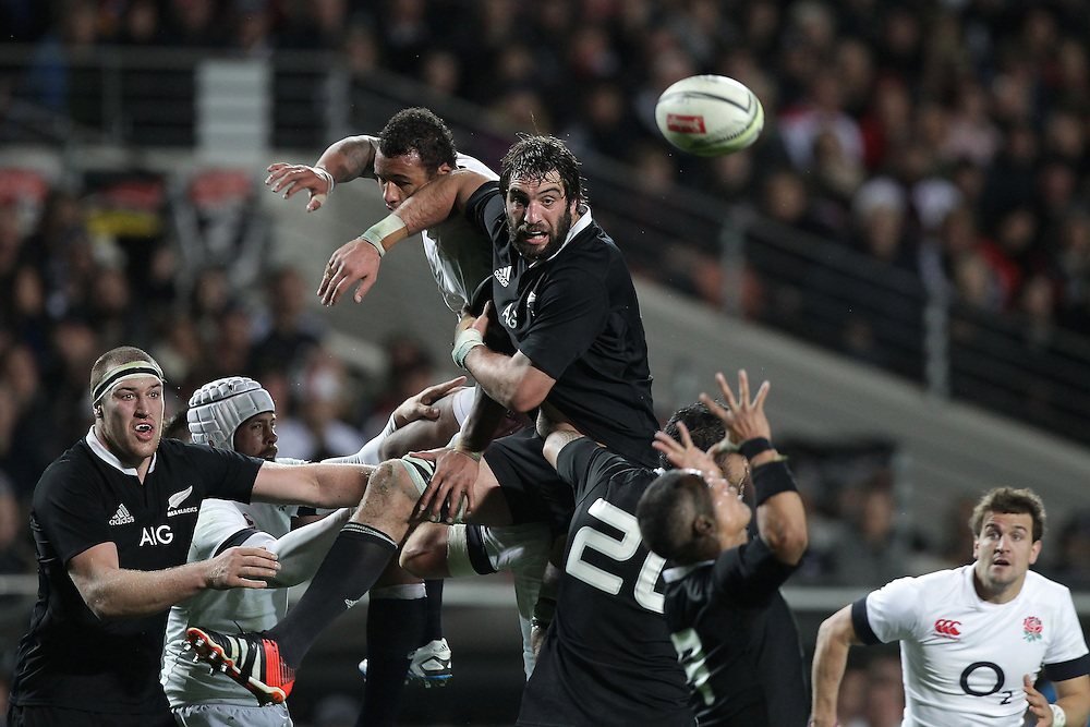 England's Courtney Lawes and New Zealand's Samuel Whitelock fight for a high ball during a line out  in an International Rugby Test match, Waikato Stadium, Hamilton, New Zealand, Saturday, June 21, 2014.  Credit:SNPA / David Rowland