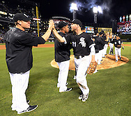 CHICAGO - JUNE 24: Todd Frazier #21 of the Chicago White Sox celebrates with teammates after the game against the Toronto Blue Jays on June 24, 2016 at U.S. Cellular Field in Chicago, Illinois.  The White Sox defeated the Blue Jays 3-2.  (Photo by Ron Vesely) Subject:    Todd Frazier