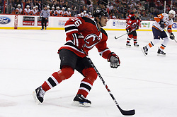 November 16, 2007; Newark, NJ, USA;  New Jersey Devils left wing Patrik Elias (26) moves up ice during the second period of their game against the New York Islanders at the Prudential Center in Newark, NJ.