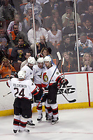 6 June 2007: Captain Daniel Alfredsson celebrates a goal during game 5 of the NHL Stanley Cup playoff championship game where the Anaheim Ducks defeated the Ottawa Senators 6-2 in regulation at the Honda Center in Anaheim, CA.