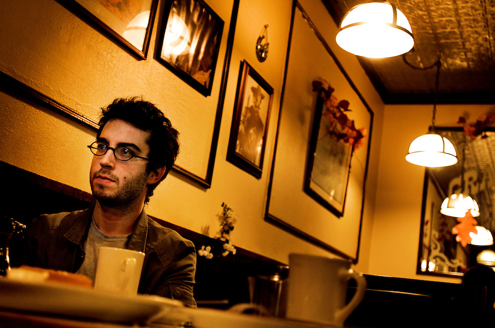 Writer Jonathan Safran Foer in his neighborhood - Park Slope in Brooklyn.Photographer: Chris Maluszynski /MOMENT