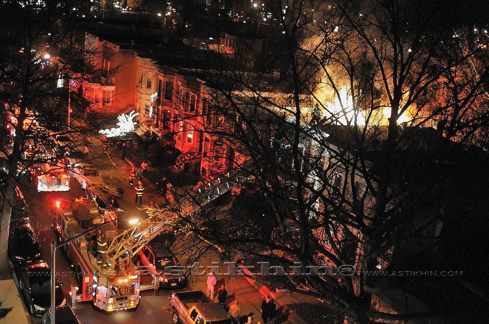Emergency Vehicles at Fire Scene. Brooklyn NYC.