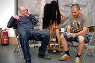 UK. London. Artists Jake (left) and Dinos(right) Chapman in their studio in Hackney, east London, UK. They lost a large collection of their work in a fire in the London storage depot recently..Steve Forrest/Workers Photos