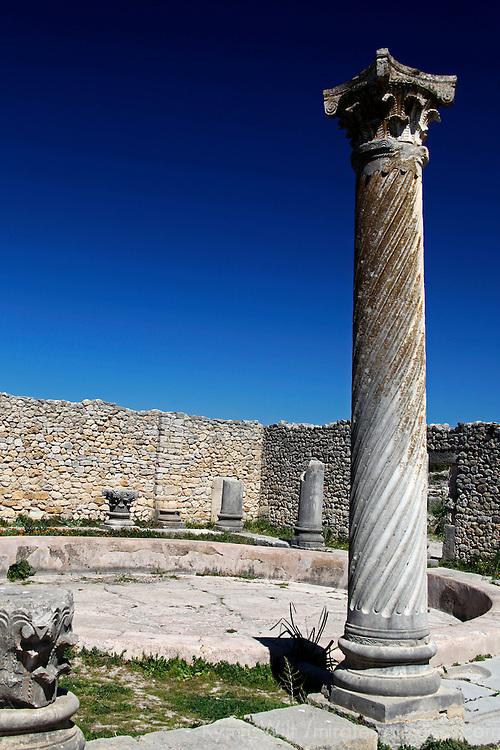 Africa, Morocco, Volubilis. Ancient Roman ruins at Volubilis, a UNESCO World Heritage Site.