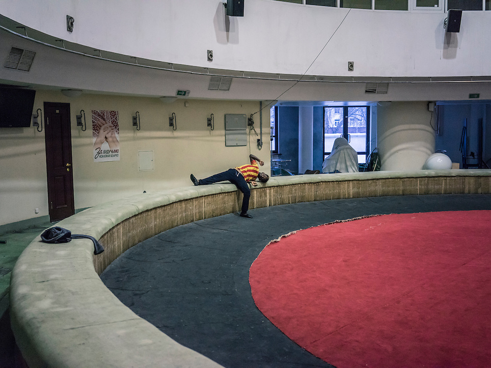 A circus performer from Ethiopia warms up during a rehearsal on Wednesday, November 25, 2015 in Minsk, Belarus.