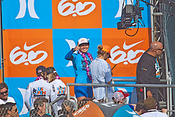 HUNTINGTON BEACH, California/USA (Saturday, August 7, 2010) - Carissa Moore at the awards platform after defeating Sally Fitzgibbons of Australia to win  the Hurley US Open of Surfing. Photo: Eduardo E. Silva