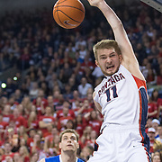 Domantas Sabonis slams home a dunk vs. Memphis on Gonzaga Day Jan. 31. (Gonzaga photo/Eli Francovich)