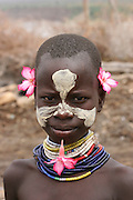 Africa, Ethiopia, Omo Valley, Karo tribesmen portrait of a child