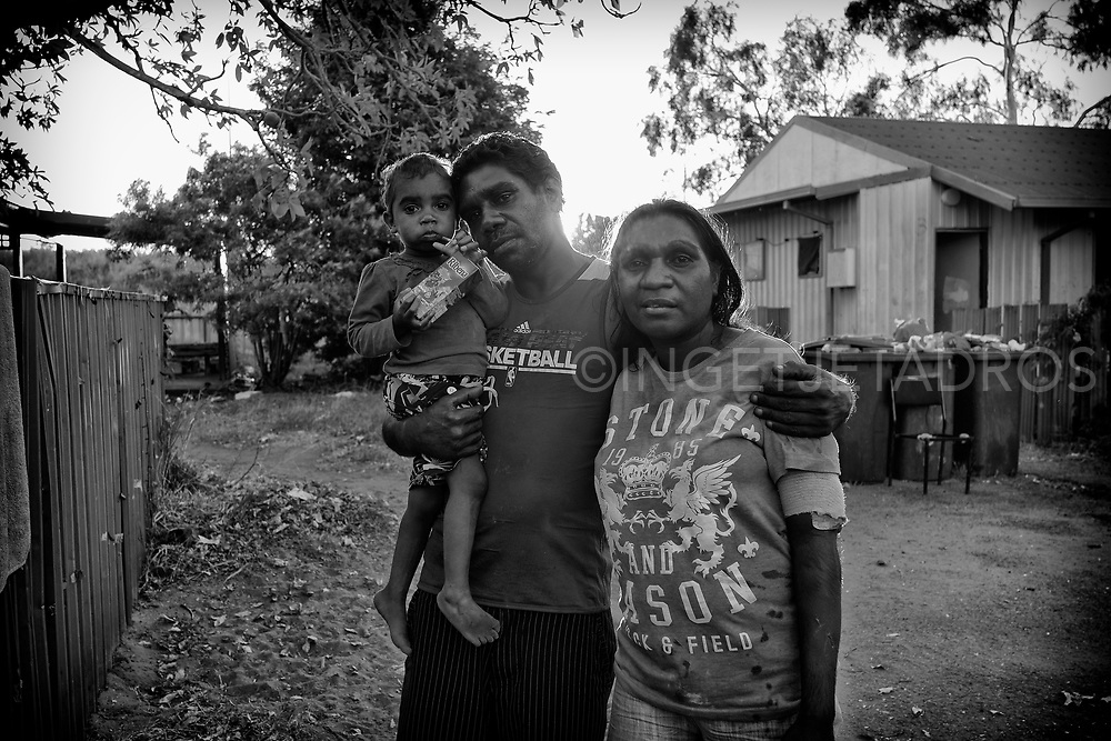 Jamy and Mauree  posing with their niece Rebecca in the Mallingbarr (Kennedy Hill) community. Broome, Western Australia