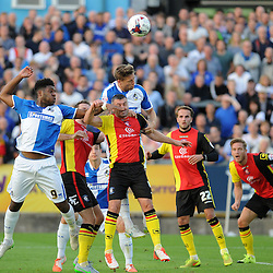 Ellis Harrison and James Clarke of Bristol Rovers put pressure on the Birmingham defence - Mandatory byline: Neil Brookman/JMP - 07966386802 - 11/08/2015 - FOOTBALL - Memorial Stadium -Bristol,England - Bristol Rovers v Birmingham City - Capital One Cup