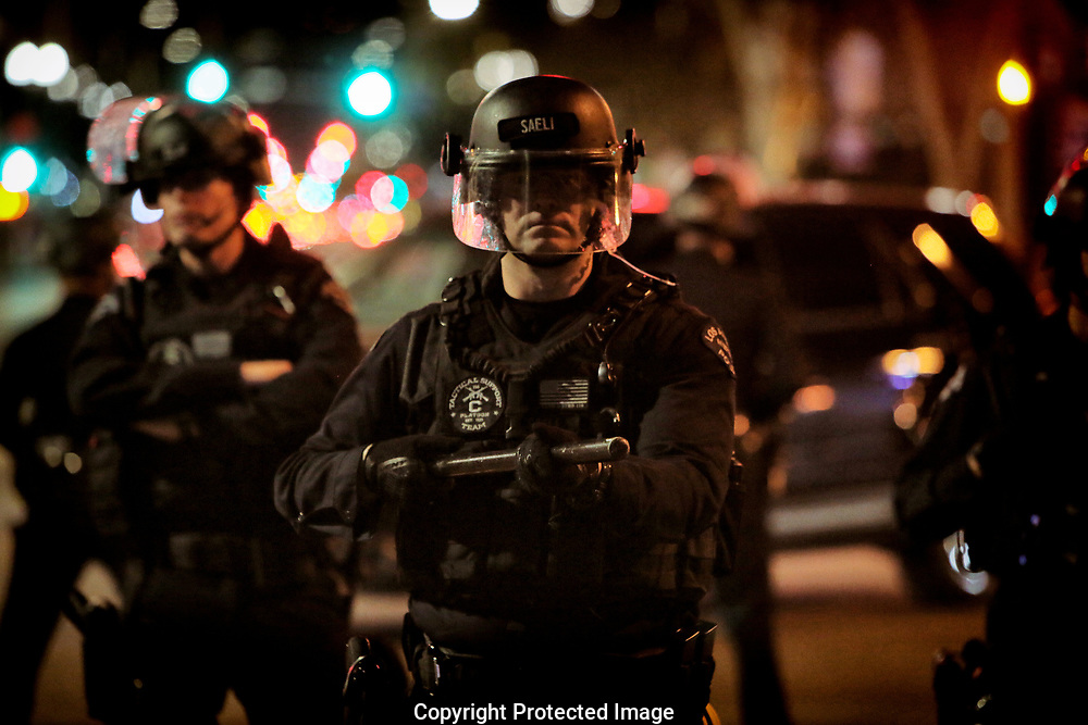 Los Angeles Police Department officers shut down protest to the election of Republican Donald Trump as President of the United States in Los Angeles, California, U.S. November12, 2016.  REUTERS/Ted Soqui