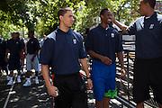 {June 27, 2012} {4:00pm} -- New York, NY, U.S.A.Duke basketball star Austin Rivers arriving at the Dunlevy Milbank Boys & Girls Club in Harlem before the NBA draft Thursday in Manhattan, New York on June 27, 2012. .