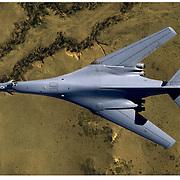 B-1 bomber, top view, aerial