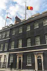 2016-03-22 Flags at half-mast in Downing Street following Brussels terror attacks.