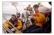 The Clipper Around the World Race 2000..During three weeks training in sailing offshore, motivated novices from all walks of life prepare to circumnavigate the globe..Lunch aboard Plymouth Clipper during the 1st day in Part A...Marc Turner / PFM.www.pfmpictures.co.uk