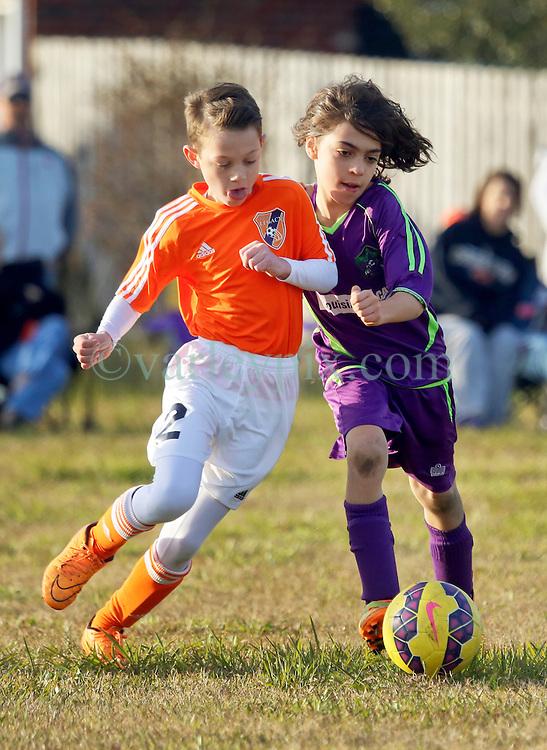 24 January 2016. Houma, Louisiana. <br /> New Orleans Jesters Youth Academy U10 Green vs Lafourche Legacy U11's. <br /> Photo&copy;; Charlie Varley/varleypix.com
