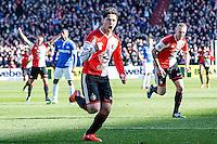 ROTTERDAM  - Feyenoord - PSV , eredivisie , voetbal , Feyenoord stadion de Kuip , seizoen 2014/2015 , 22-03-2015 , Feyenoord speler Anass Achahbar scoort de 2-0 en viert dit met Lex Immers (r) en op de achtergrond juicht Jordy Clasie (l)