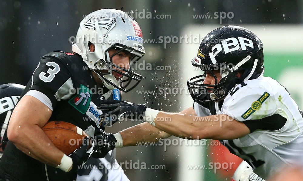 04.05.2013, Tivoli Stadion, Innsbruck, AUT, AFL, Swarco Raiders Tirol vs Prag Black Panthers, im Bild Damaso Tarneller , (SWARCO Raiders Tirol, WR, #3) und  Martin Hofman, (Prague Black Panthers, DB, #21)  // during the Austrian Football League Game between Swarco Raiders Tirol and Prague Black Panthers at the Tivoli Stadion, Innsbruck, Austria on 2013/05/04. EXPA Pictures © 2013, PhotoCredit: EXPA/ Thomas Haumer