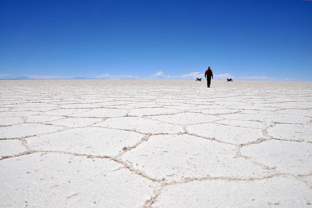 Walking on the Salar de Uyuni, Bolivia