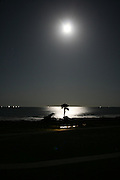 Moonrise over Jekyll Island beach with shrimp boats in the distance and palm tree in the moons reflection.