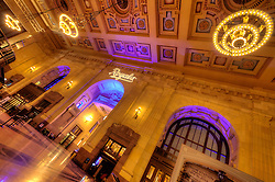 Interior of Kansas City's Union Station with Royals projection on wall during 2014 Major League Baseball World Series.