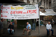 Voters wait at Omonia Square for Syriza leader Alexis Tsipras to arrive for his speech. Image © Angelos Giotopoulos/Falcon Photo Agency