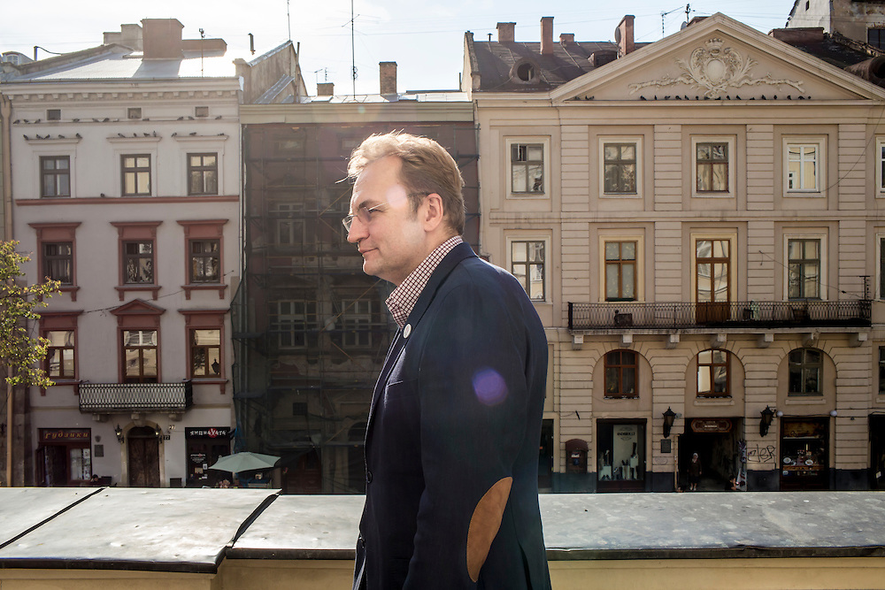 LVIV, UKRAINE - SEPTEMBER 16, 2015: Andriy Sadovyy, the mayor of Lviv, on the balcony of his office in Lviv, Ukraine. Sadovyy is head of the Samopomich political party, which placed third in the most recent parliamentary elections. CREDIT: Brendan Hoffman for The New York Times