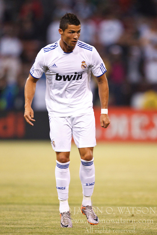 August 4, 2010; San Francisco, CA, USA;  Real Madrid forward Cristiano Ronaldo (7) during the first half against Club America at Candlestick Park. Real Madrid defeated Club America 3-2.