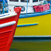 Colorful fishing boats in the harbor of Kirkwall, Mainland Orkney Islands Scotland
