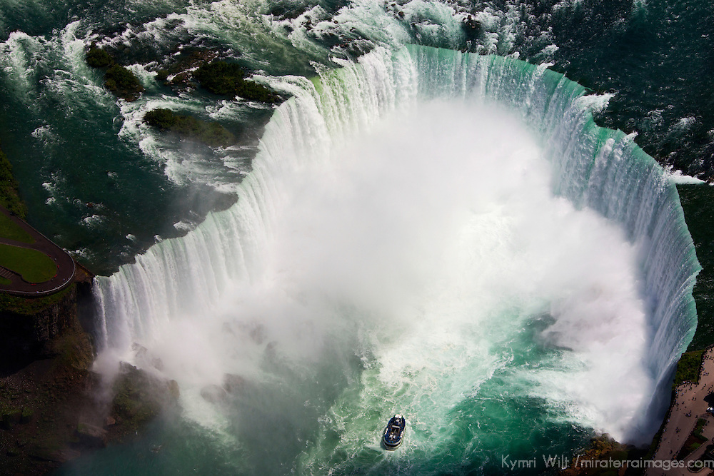 Canada, Ontario, Niagara Falls. Maid of the Mist and Niagara Falls aerial view by helicopter.