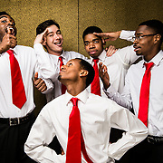 03/08/2013 - Medford/Somerville, Mass. - Wale Williams, A14, Matthew Mueller, E15, Groom Dinkneh, A13, Jared Vallair, A14, and Edwin Diaz, E14, members of the Blackout step team, pose for a portrait on Friday, March 8, 2013.  (Alonso Nichols/Tufts University)