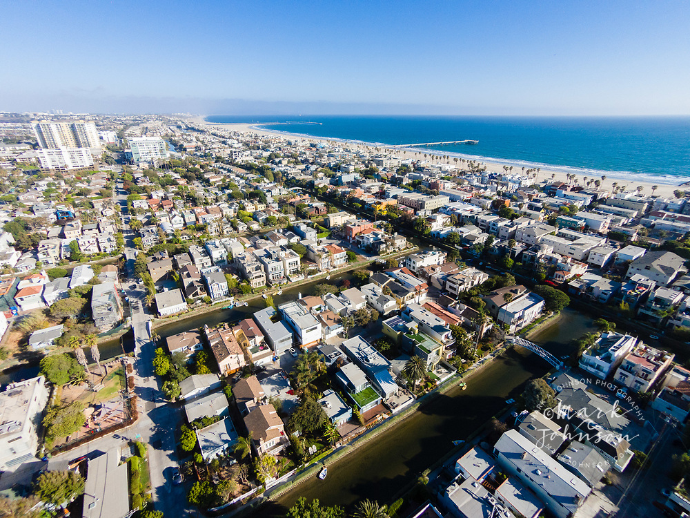 Aerial photograph of the Venice Canals, Venice Beach, Los Angeles, California, USA