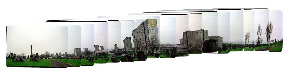 Composite view of Sightill estate, Glasgow, Scotland.